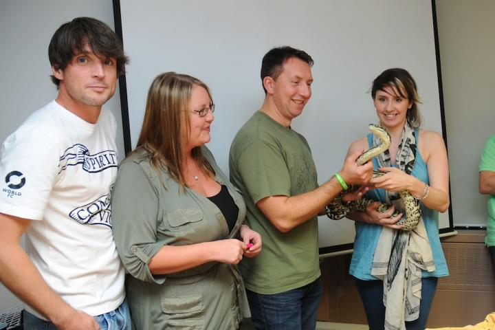 Dr Rhys Jones brought some reptile friends into the office as part of fundraising in aid of Go Green Day