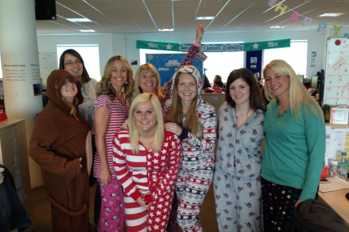 Claims Large Loss take part in a pyjama day